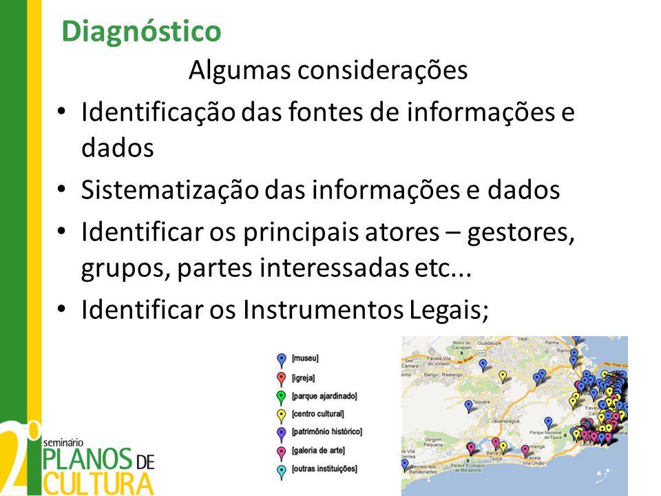 Diagnóstico Algumas considerações