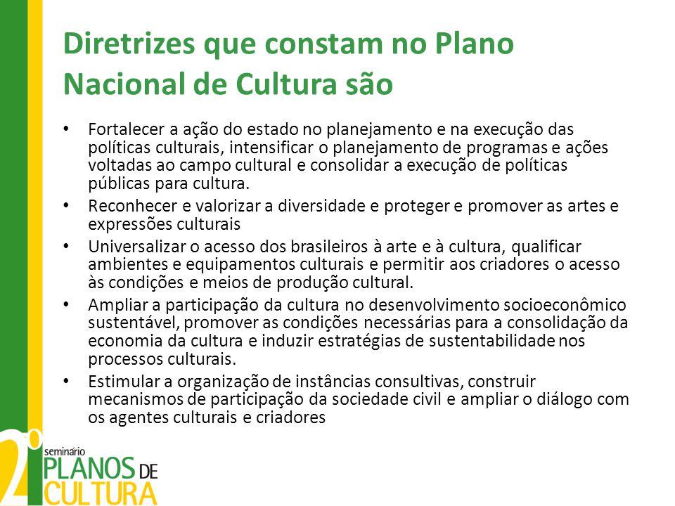 Diretrizes que constam no Plano Nacional de Cultura são
