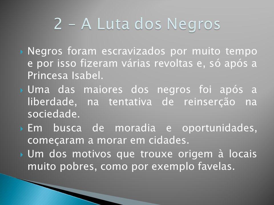 2 – A Luta dos Negros Negros foram escravizados por muito tempo e por isso fizeram várias revoltas e, só após a Princesa Isabel.