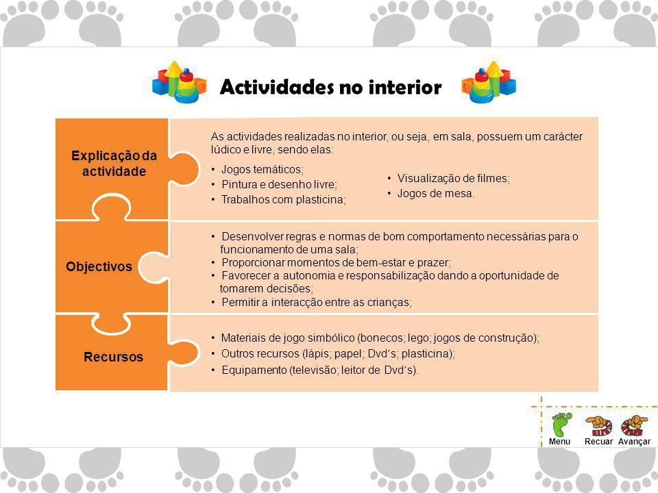 Actividades no interior