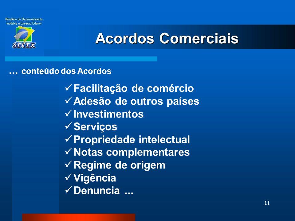 Acordos Comerciais ... conteúdo dos Acordos Facilitação de comércio