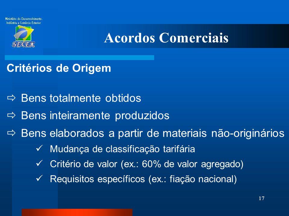 Acordos Comerciais Critérios de Origem Bens totalmente obtidos