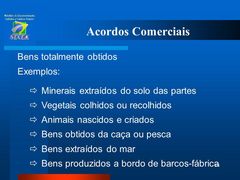Acordos Comerciais Bens totalmente obtidos Exemplos: