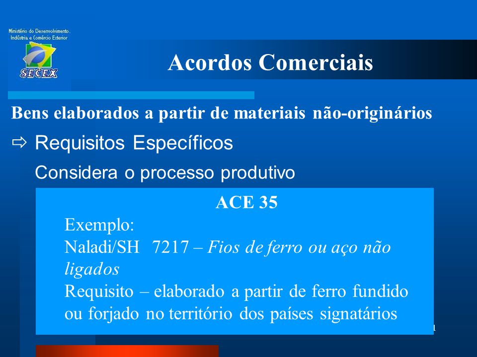 Acordos Comerciais Requisitos Específicos