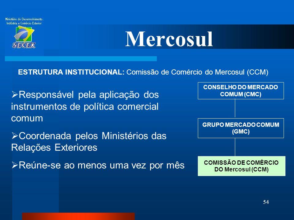 Mercosul ESTRUTURA INSTITUCIONAL: Comissão de Comércio do Mercosul (CCM) CONSELHO DO MERCADO COMUM (CMC)