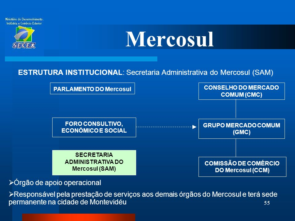 Mercosul ESTRUTURA INSTITUCIONAL: Secretaria Administrativa do Mercosul (SAM) PARLAMENTO DO Mercosul.