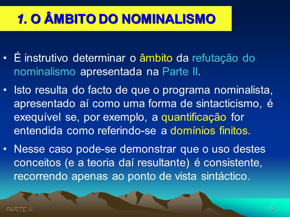 1. O ÂMBITO DO NOMINALISMO