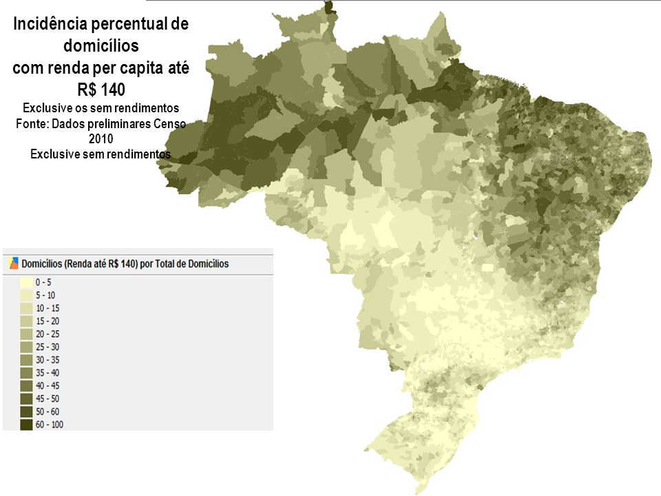 Incidência percentual de domicílios com renda per capita até R$ 140