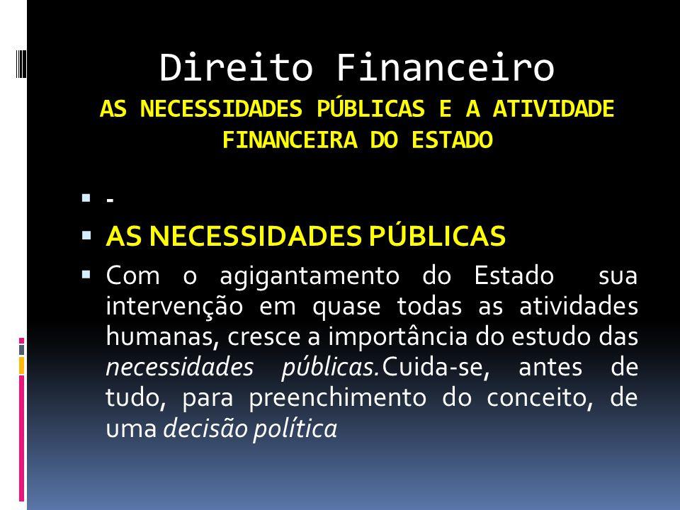 Direito Financeiro AS NECESSIDADES PÚBLICAS E A ATIVIDADE FINANCEIRA DO ESTADO