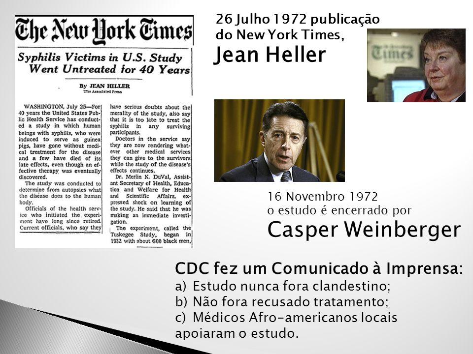 Jean Heller Casper Weinberger CDC fez um Comunicado à Imprensa: