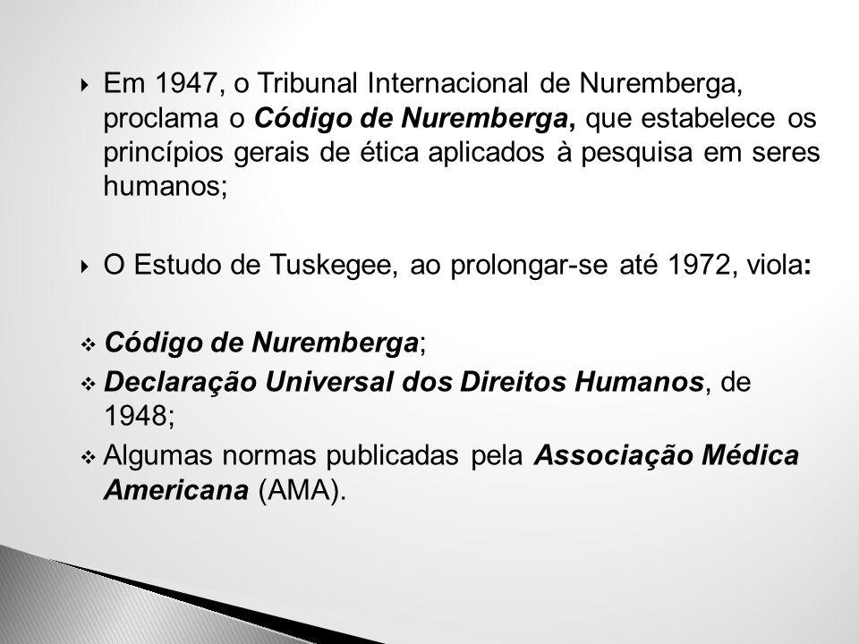 Em 1947, o Tribunal Internacional de Nuremberga, proclama o Código de Nuremberga, que estabelece os princípios gerais de ética aplicados à pesquisa em seres humanos;