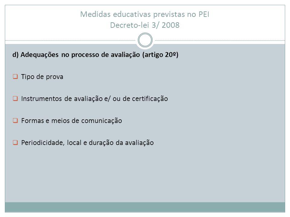 Medidas educativas previstas no PEI Decreto-lei 3/ 2008