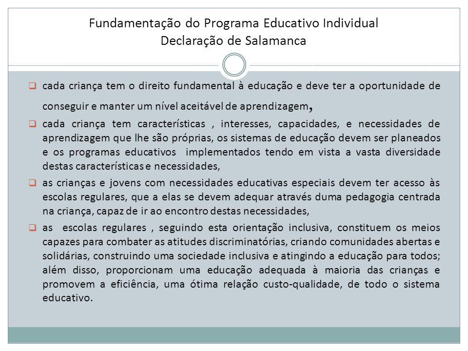 Fundamentação do Programa Educativo Individual Declaração de Salamanca