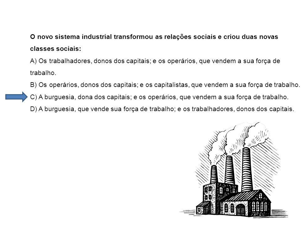 O novo sistema industrial transformou as relações sociais e criou duas novas classes sociais: