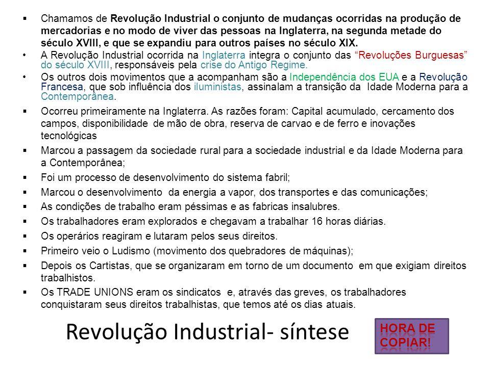 Revolução Industrial- síntese