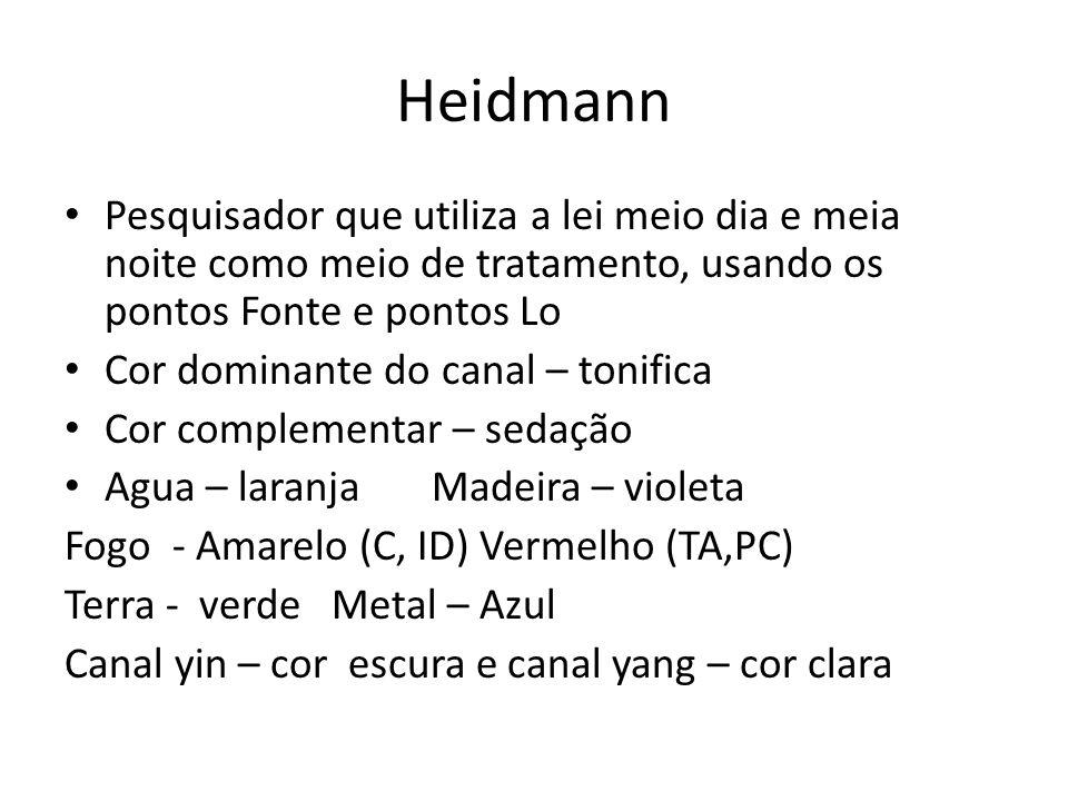 Heidmann Pesquisador que utiliza a lei meio dia e meia noite como meio de tratamento, usando os pontos Fonte e pontos Lo.