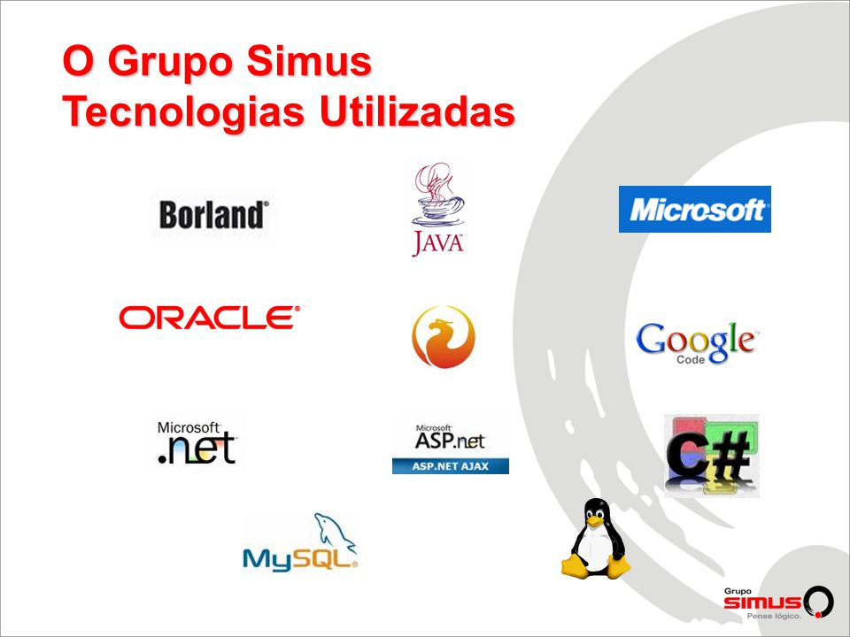 O Grupo Simus Tecnologias Utilizadas