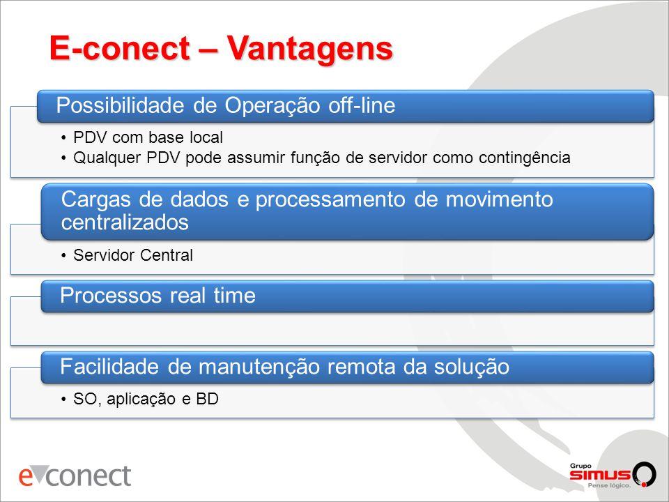 E-conect – Vantagens Possibilidade de Operação off-line. PDV com base local. Qualquer PDV pode assumir função de servidor como contingência.