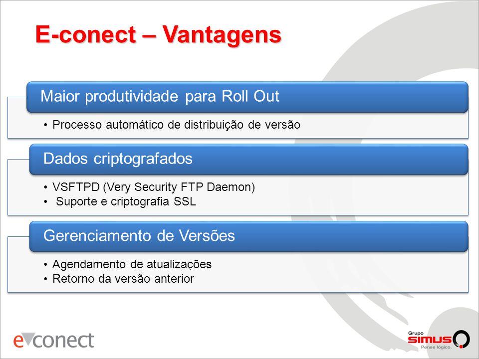 E-conect – Vantagens Maior produtividade para Roll Out