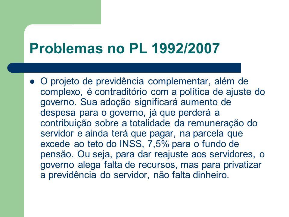 Problemas no PL 1992/2007