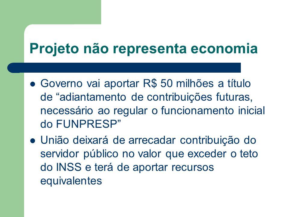 Projeto não representa economia