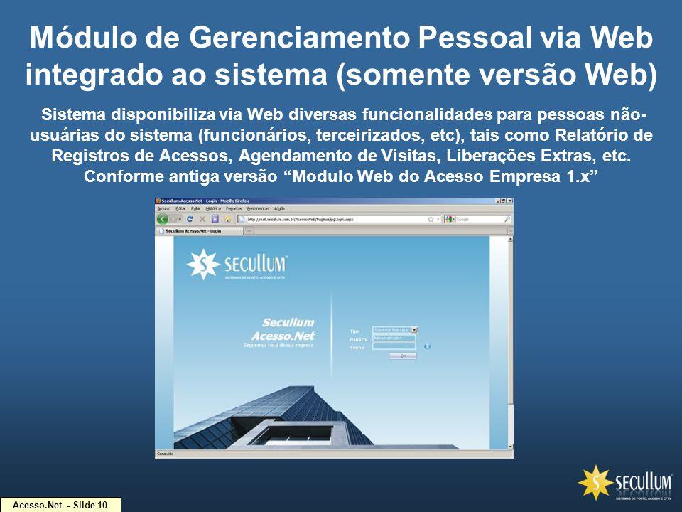 Módulo de Gerenciamento Pessoal via Web integrado ao sistema (somente versão Web)