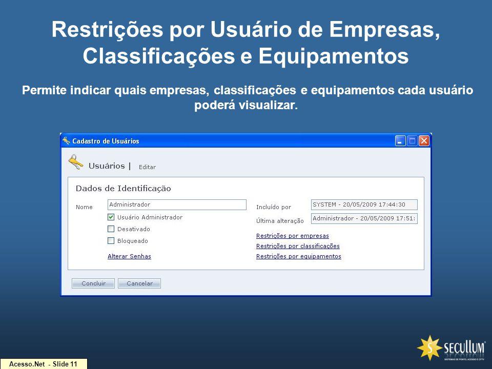 Restrições por Usuário de Empresas, Classificações e Equipamentos
