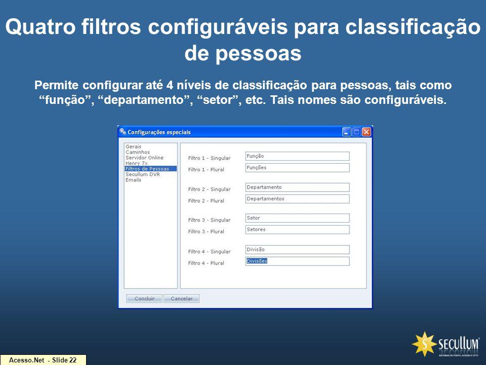 Quatro filtros configuráveis para classificação de pessoas