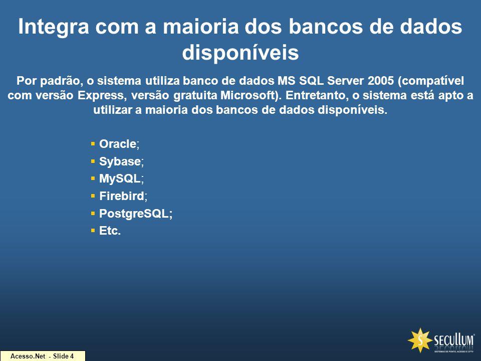 Integra com a maioria dos bancos de dados disponíveis