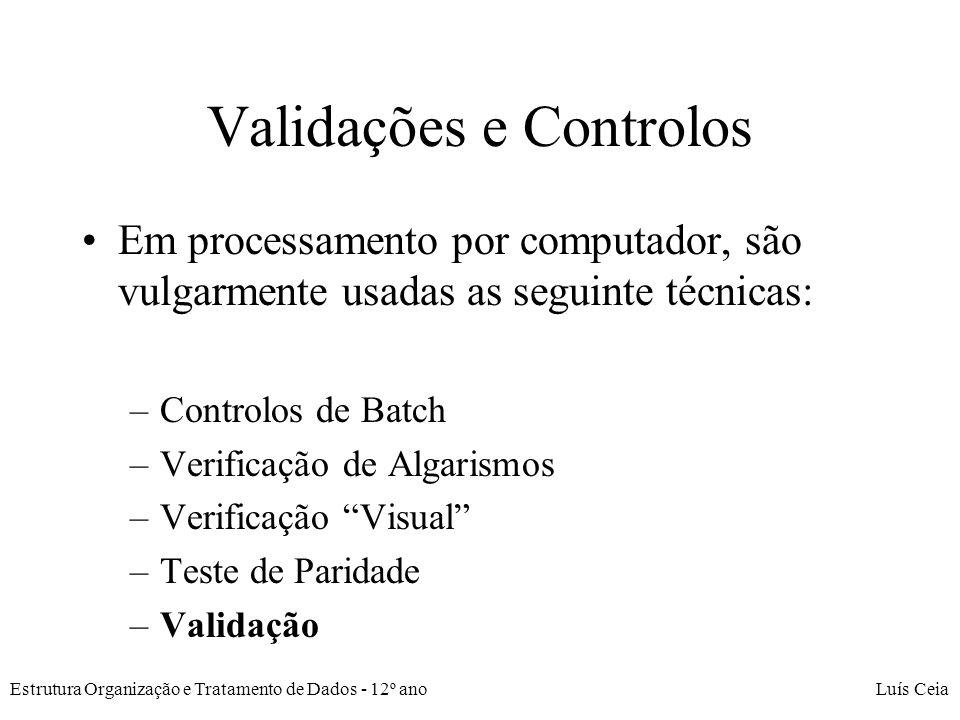 Validações e Controlos