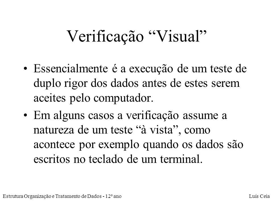 Verificação Visual Essencialmente é a execução de um teste de duplo rigor dos dados antes de estes serem aceites pelo computador.