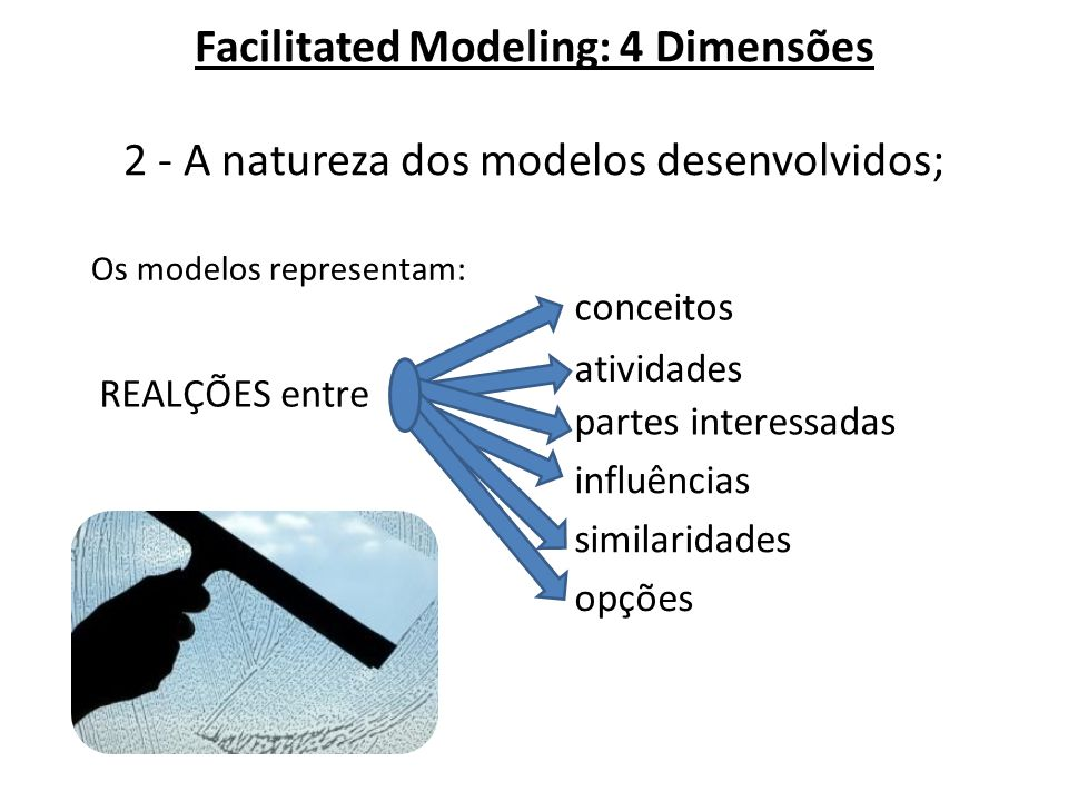 Facilitated Modeling: 4 Dimensões 2 - A natureza dos modelos desenvolvidos;