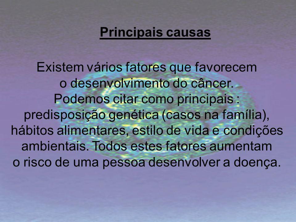 Existem vários fatores que favorecem o desenvolvimento do câncer.