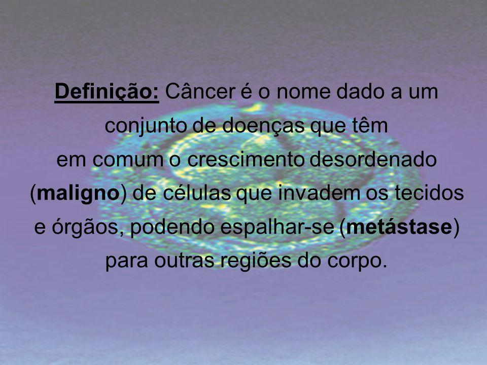 Definição: Câncer é o nome dado a um conjunto de doenças que têm