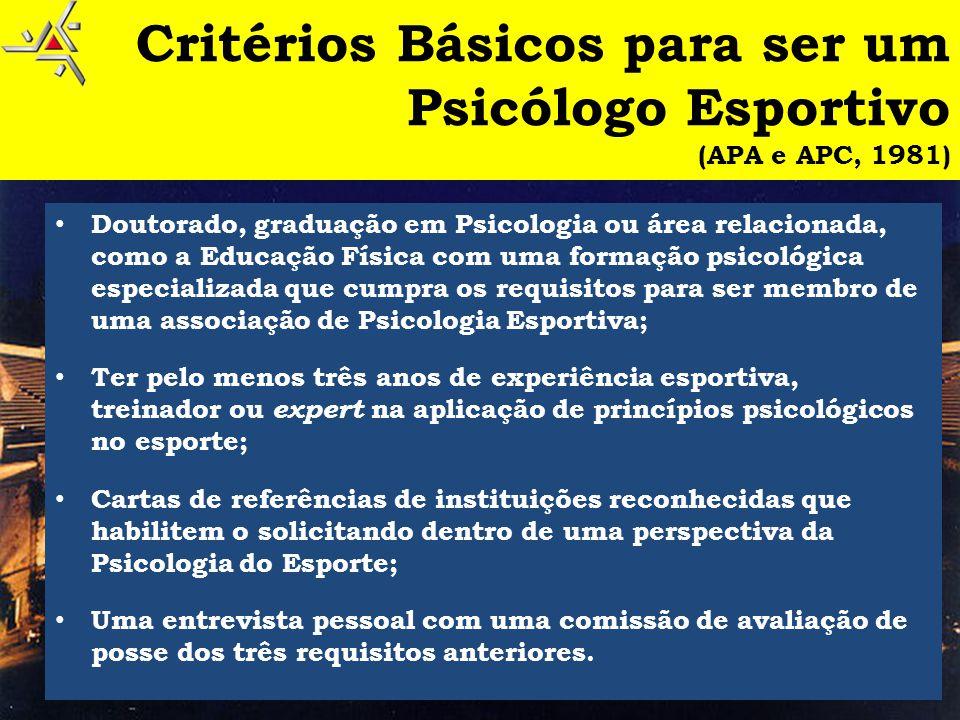 Critérios Básicos para ser um Psicólogo Esportivo (APA e APC, 1981)