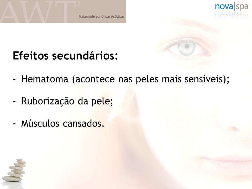 Efeitos secundários: Hematoma (acontece nas peles mais sensíveis);