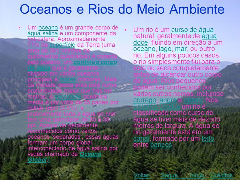 Oceanos e Rios do Meio Ambiente