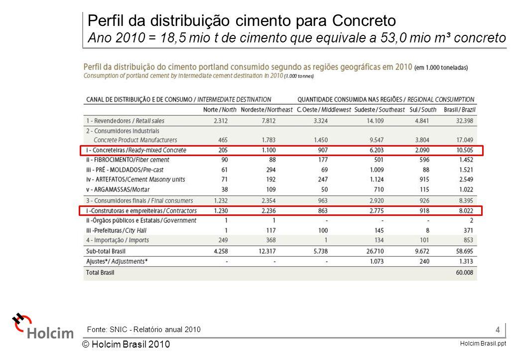Fonte: SNIC - Relatório anual 2010