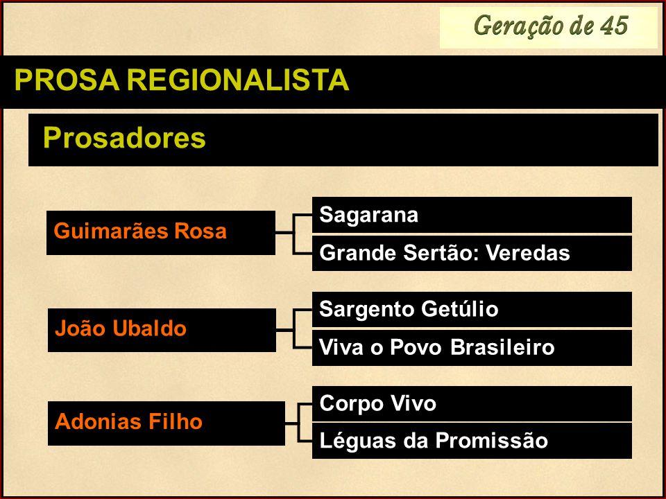Geração de 45 PROSA REGIONALISTA Prosadores Sagarana Guimarães Rosa