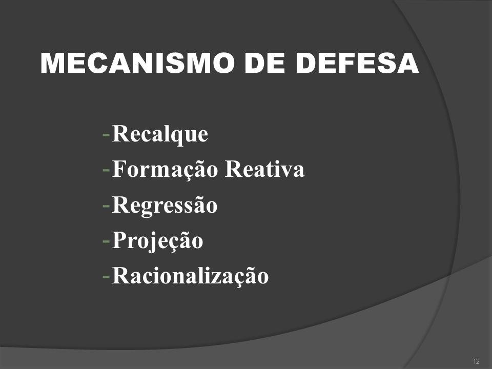 MECANISMO DE DEFESA Recalque Formação Reativa Regressão Projeção