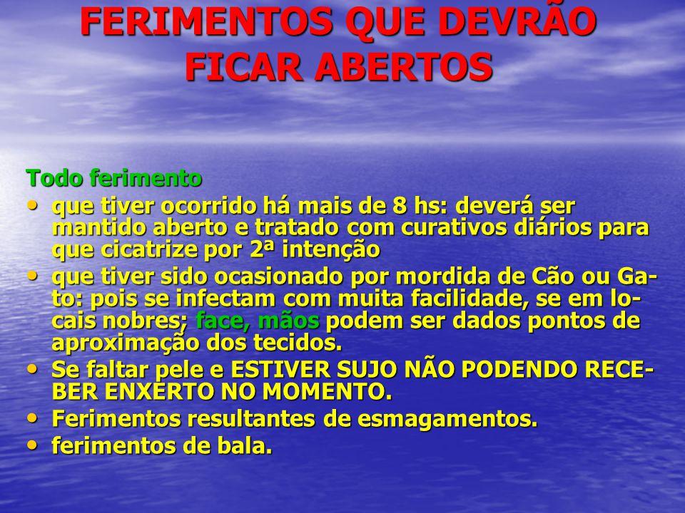 FERIMENTOS QUE DEVRÃO FICAR ABERTOS