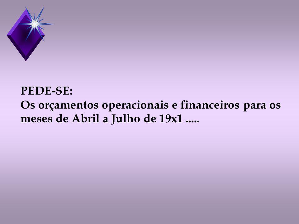 PEDE-SE: Os orçamentos operacionais e financeiros para os meses de Abril a Julho de 19x1 .....