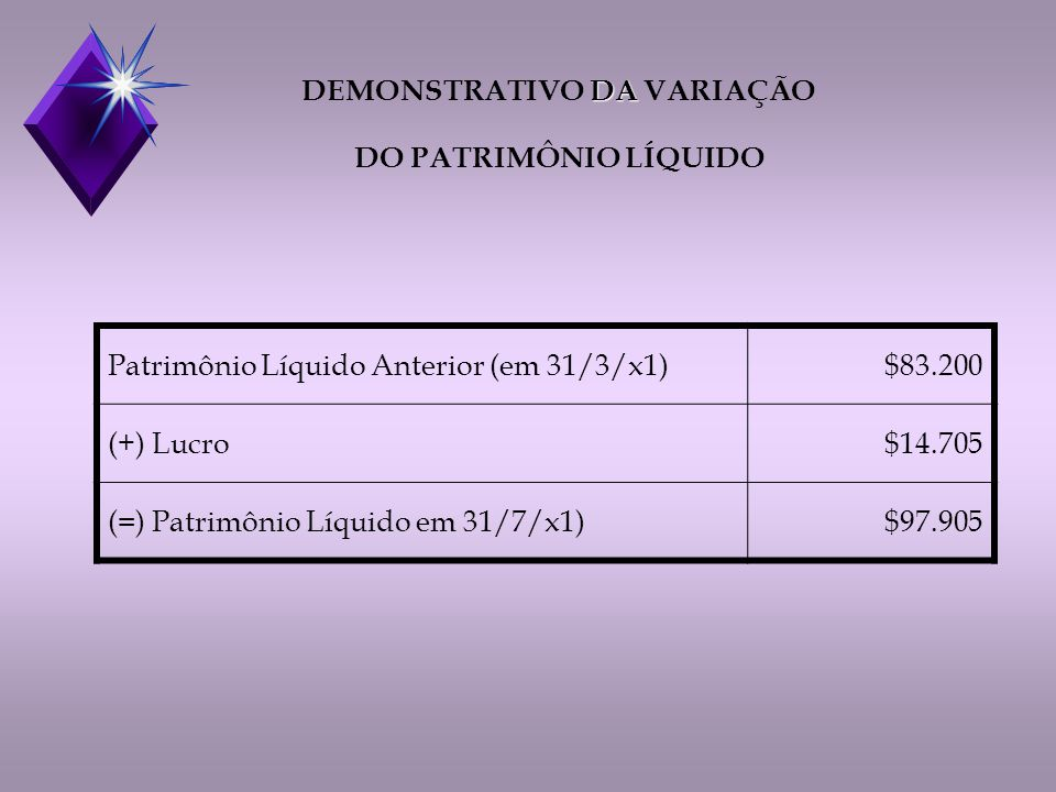 DEMONSTRATIVO DA VARIAÇÃO DO PATRIMÔNIO LÍQUIDO