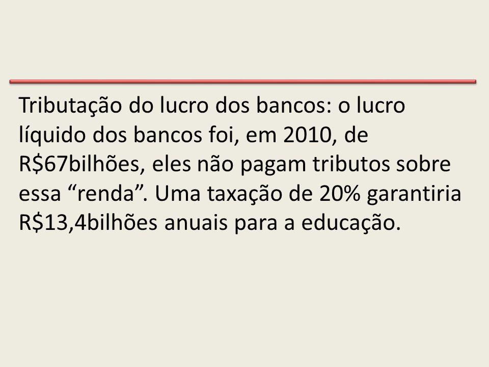 Tributação do lucro dos bancos: o lucro líquido dos bancos foi, em 2010, de R$67bilhões, eles não pagam tributos sobre essa renda .