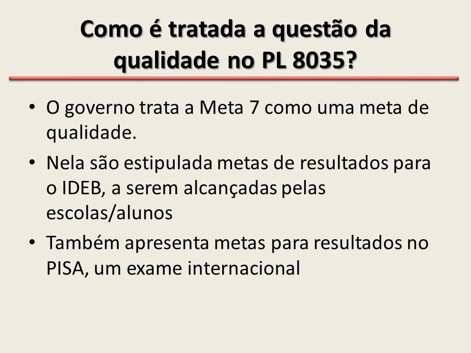 Como é tratada a questão da qualidade no PL 8035