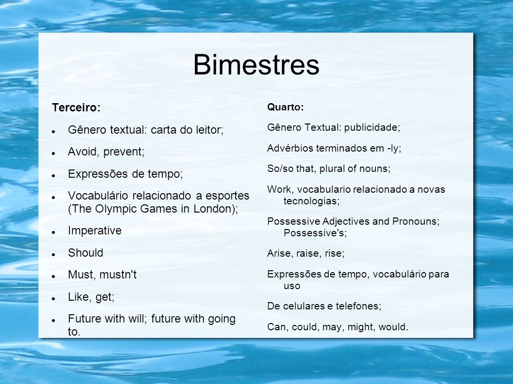 Bimestres Terceiro: Gênero textual: carta do leitor; Avoid, prevent;