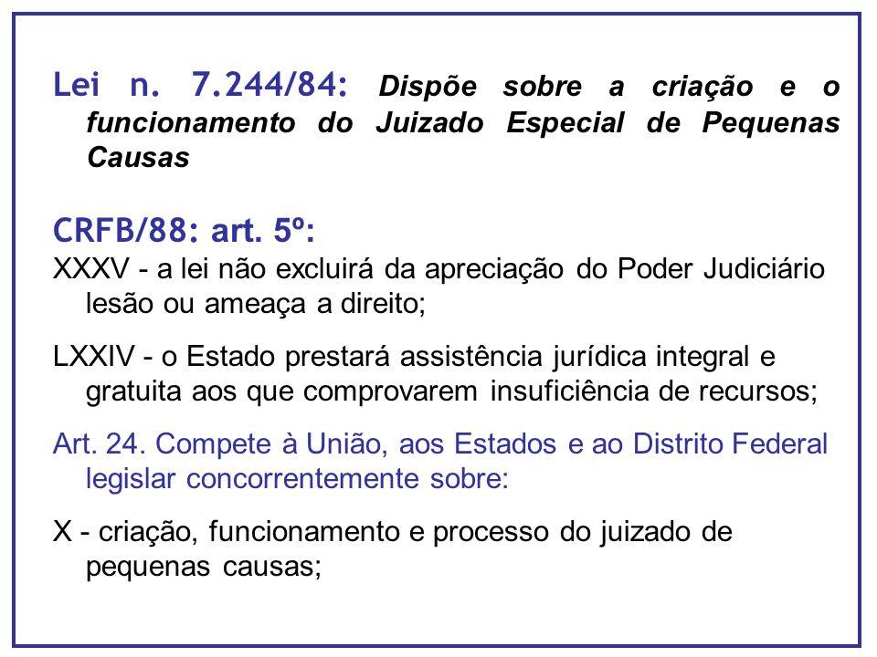 Lei n. 7.244/84: Dispõe sobre a criação e o funcionamento do Juizado Especial de Pequenas Causas