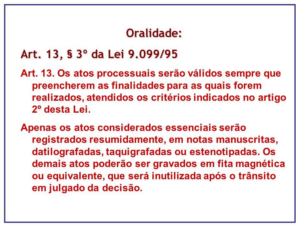 Oralidade: Art. 13, § 3º da Lei 9.099/95