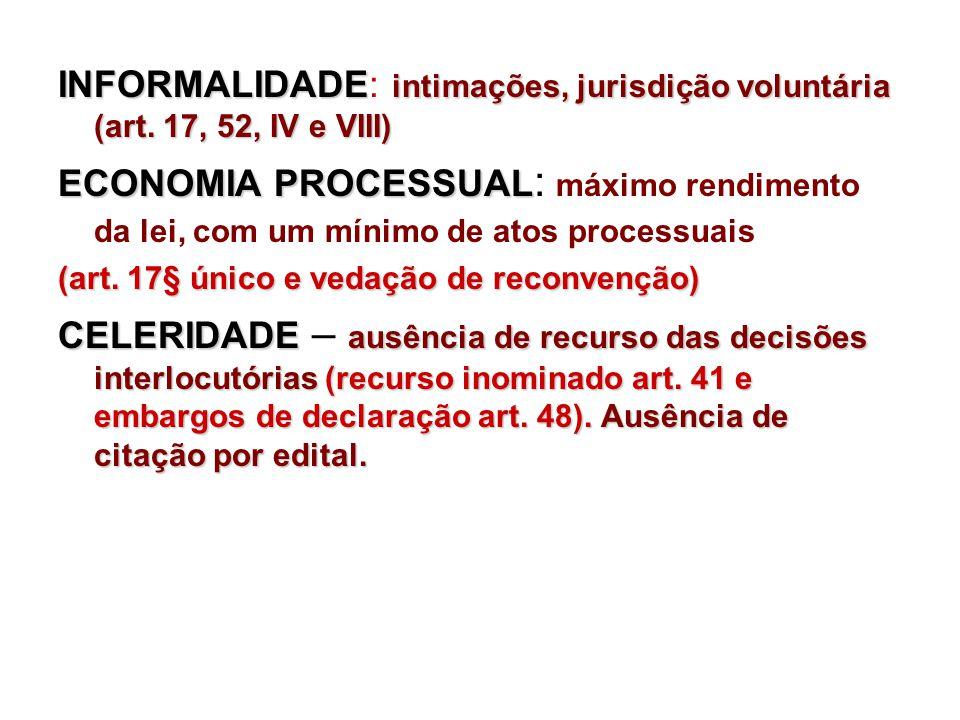 INFORMALIDADE: intimações, jurisdição voluntária (art