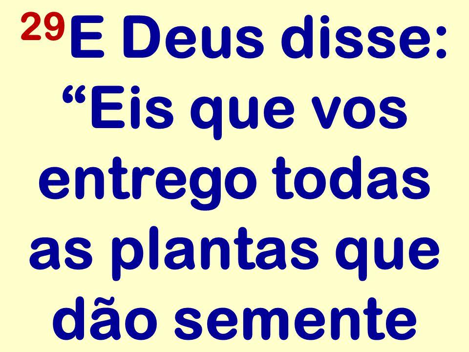 29E Deus disse: Eis que vos entrego todas as plantas que dão semente